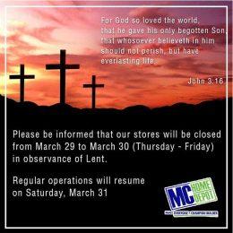 MC Home Depot Lenten Operating Hours