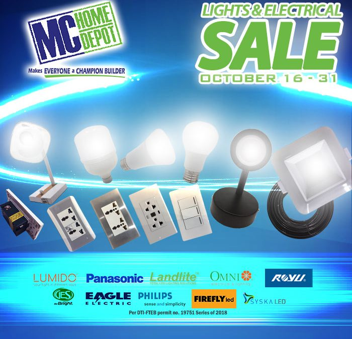 MC Home Depot Lights & Electrical Sale October 2018